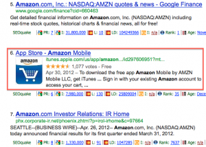 Google results page showing how you can filter searches for mobile apps.