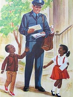 Mailman and children.