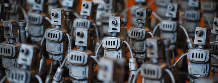 Army of marching toy robots
