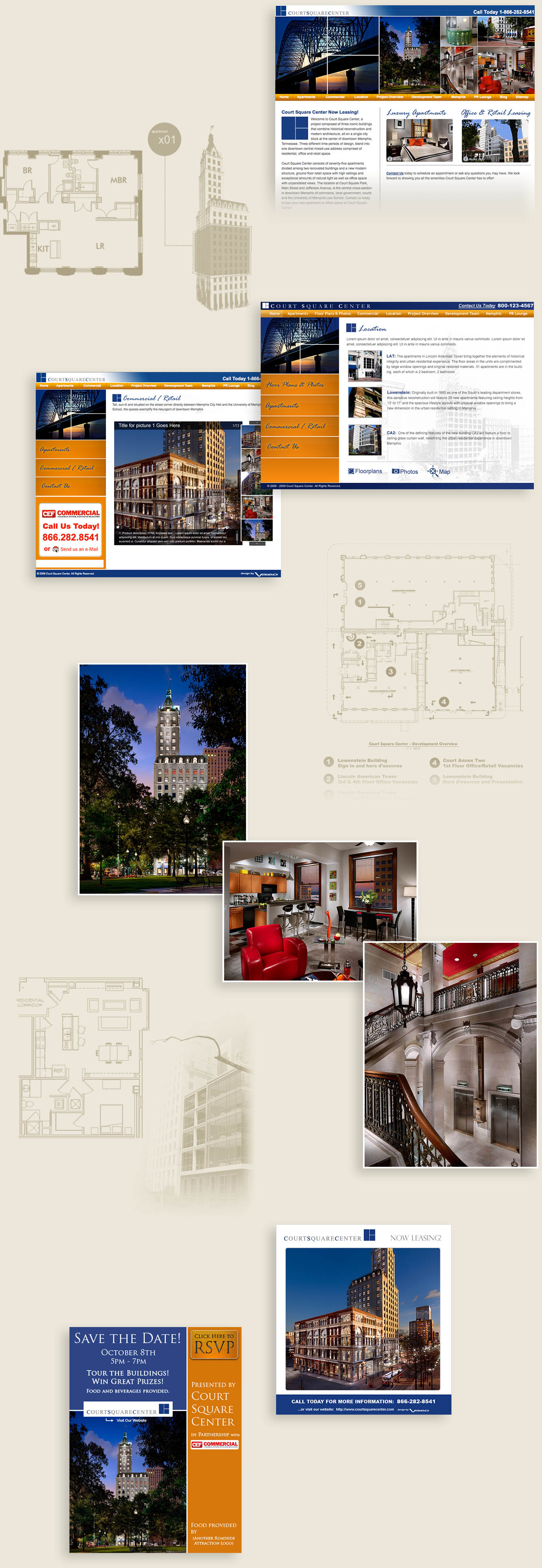 For Court Square Center, we created a website, marketing materials, and more.